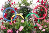 Olympic themed floral display at the RHS Hampton court flower show 2016